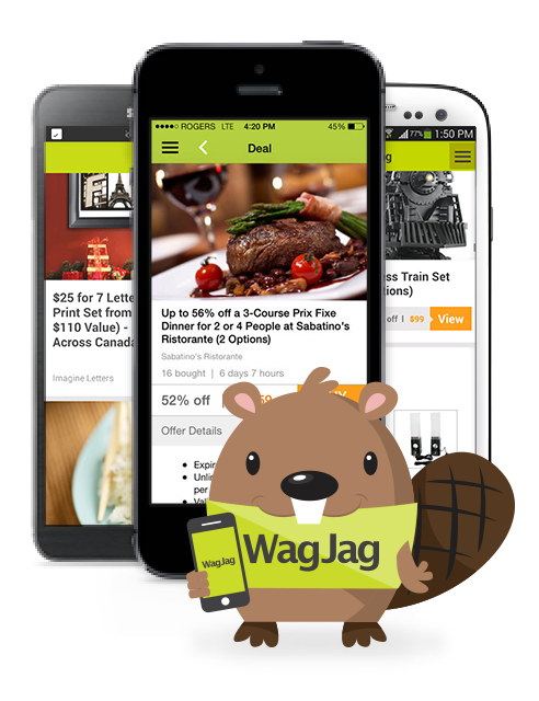 WagJag Beaver with phones