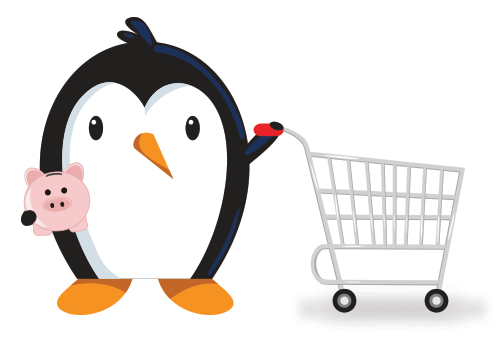 penguin with shopping cart